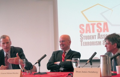 Professor Robert Murret, Gen. Michael Hayden, and Maxwell School Dean James Steinberg at at panel discussion organized by SATSA in 2010.