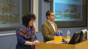 INSCT Faculty Member Miriam Elman introduces Professor Eugene Kontorovich of Northwestern Law, who spoke at SU Maxwell School on March 3, 2016. An expert in international law and the law of the sea, Kontorovich discussed the legal roots of the border disputes in Israel/Palestine, from the time of the break up of the Ottoman Empire; to the creation of the British mandate of Trans-Jordan; through the formation of Israel and various wars, truces, and peace treaties; to the present day disputes about settlers in the Occupied Palestinian Territories.