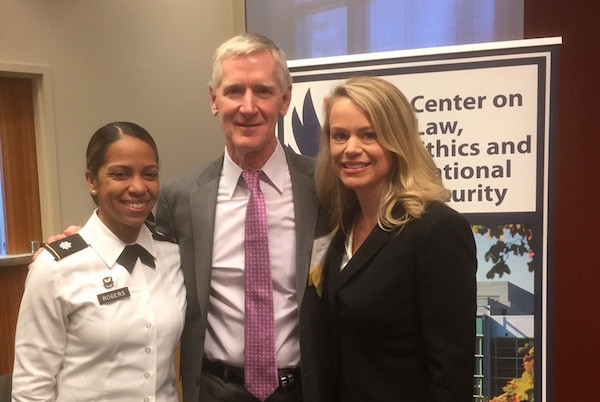 "SU College of Law Interim Dean and INSCT Director William C. Banks with two former students at the Duke Law LENS Conference 2016. At right is Erin Wirtanen (J.D./M.P.A '98), an Assistant General Counsel in the CIA, and at left is Pia Smith (LAW '01), of the Judge Advocate General's Corps. Wirtanen appeared with Banks on the Feb. 26, 2016, LENS panel ""Surveillance and Privacy in the Era of Hybrid Threats."""