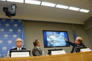 David Crane, Gerard Araud, and Dr. Stuart Hamilton give a report on the allegations of torture in Syria at the United Nations on April 15, 2014.